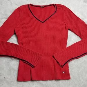 Tommy Hilfiger VINTAGE cotton sweater ribbed red